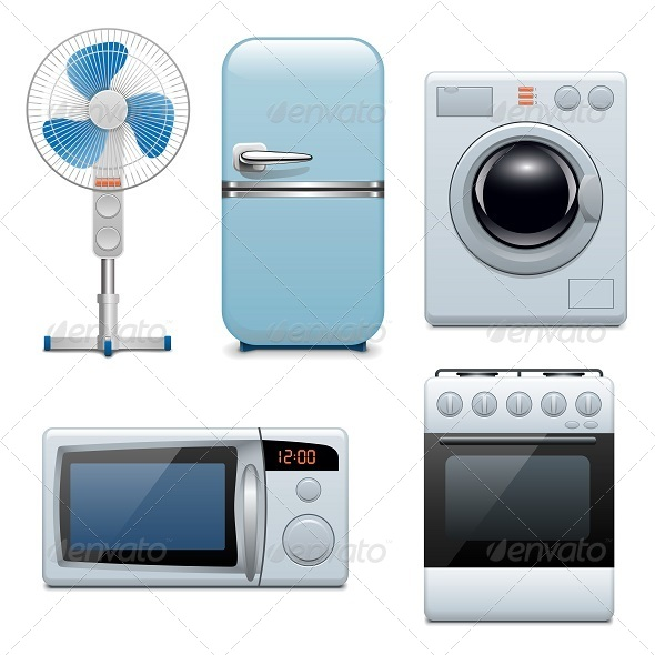 GraphicRiver Vector Household Appliances Icons 5242823