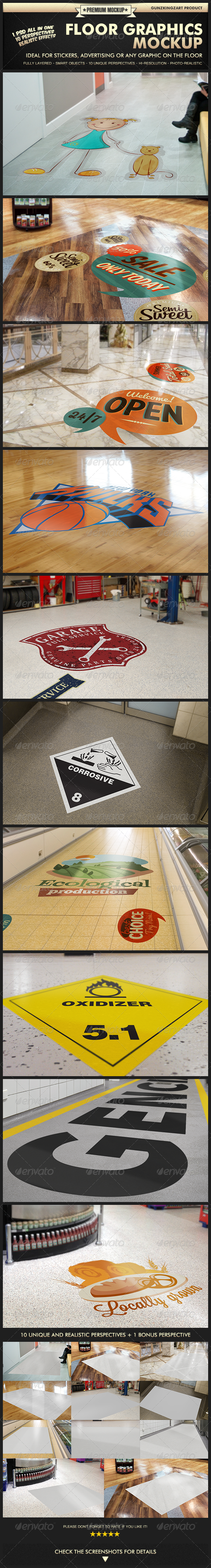 GraphicRiver Floor Graphics Mockup Premium Kit 5243019