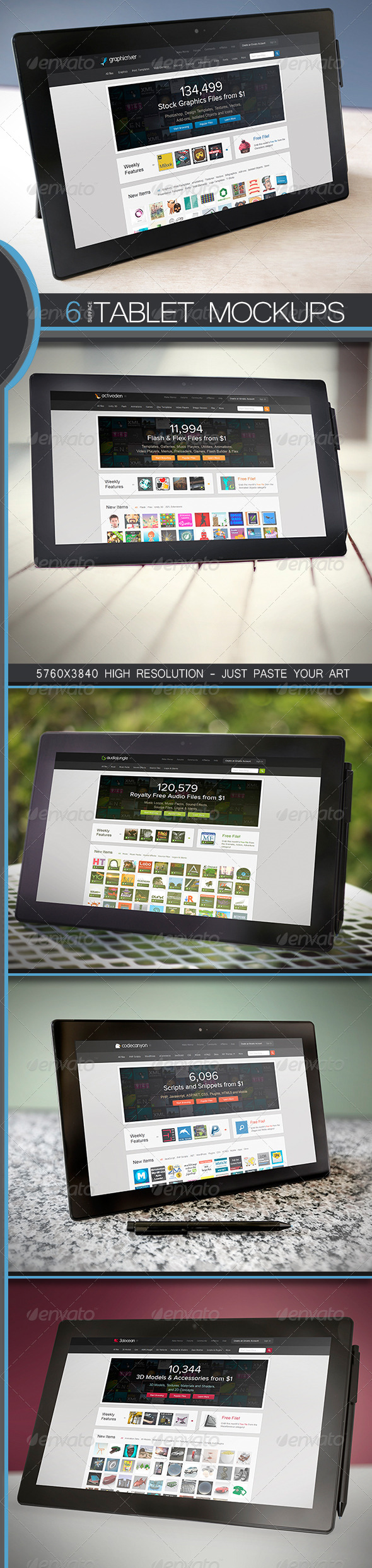 GraphicRiver 6 Surface Pro Tablet PC Mock-Ups 5243156