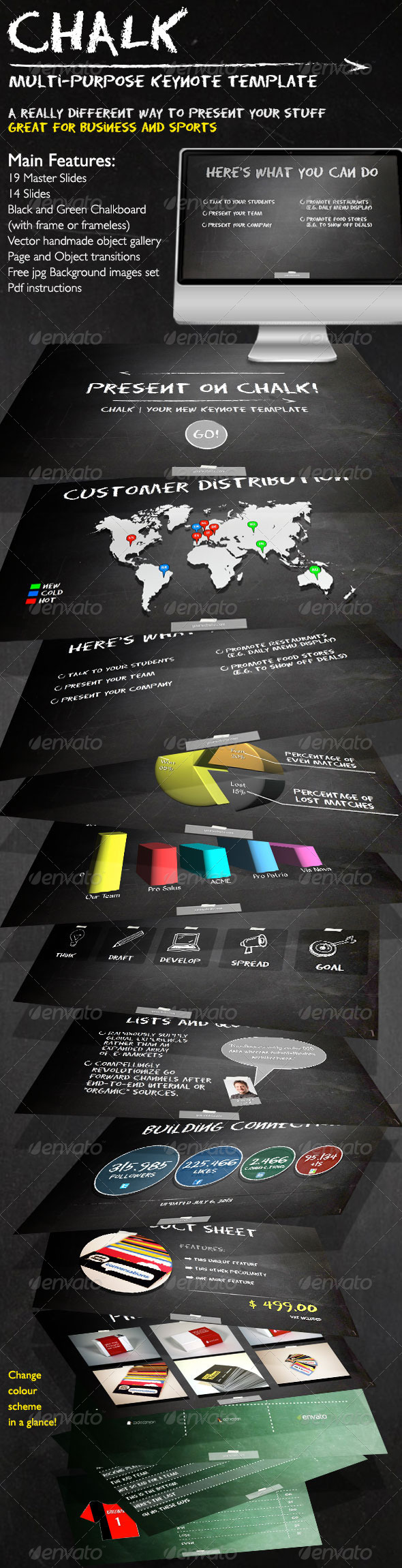 GraphicRiver Chalk Business and Sports Keynote Template 5243528