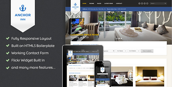 ThemeForest Anchor Inn Hotel and Resort Site Template 5243594
