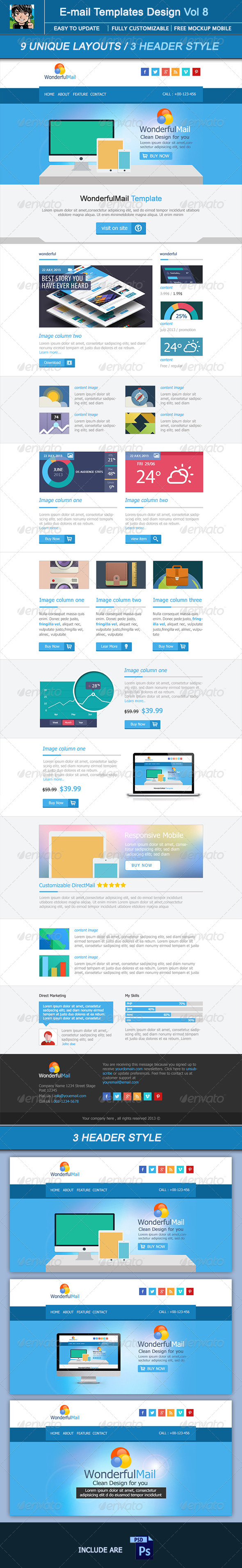 WonderfulMail Email Template Design Vol 8 - E-newsletters Web Elements