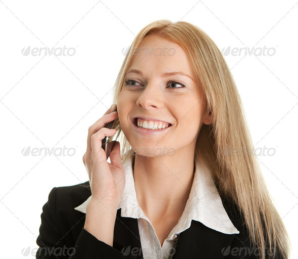 Businesswoman talking on mobile phone - Stock Photo - Images