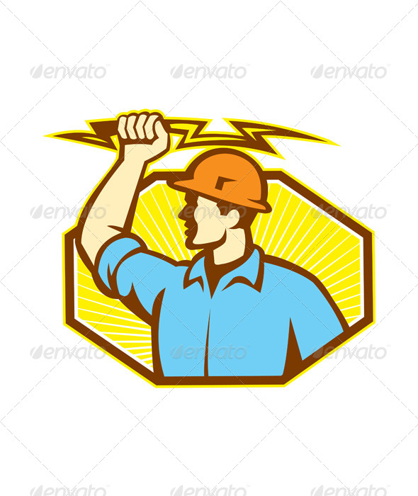 GraphicRiver Electrician Wielding Lightning Bolt 5245653