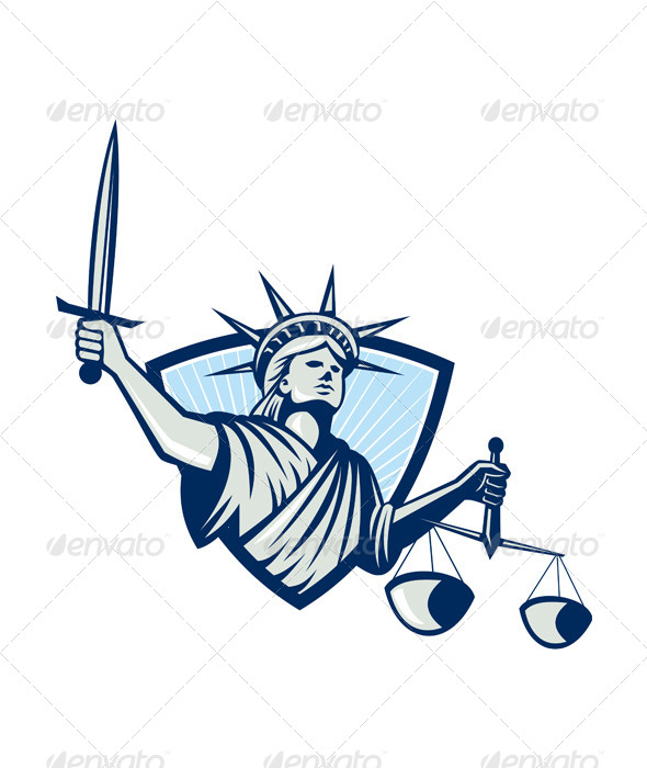 GraphicRiver Statue of Liberty Holding Scales Justice Sword 5245657