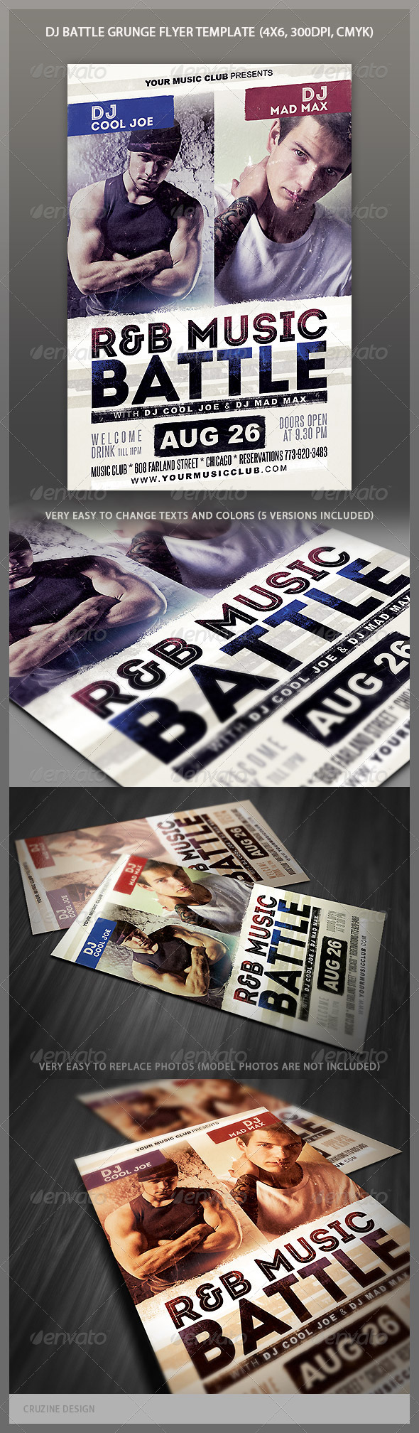 GraphicRiver Music Battle Grunge Party Flyer 5245663