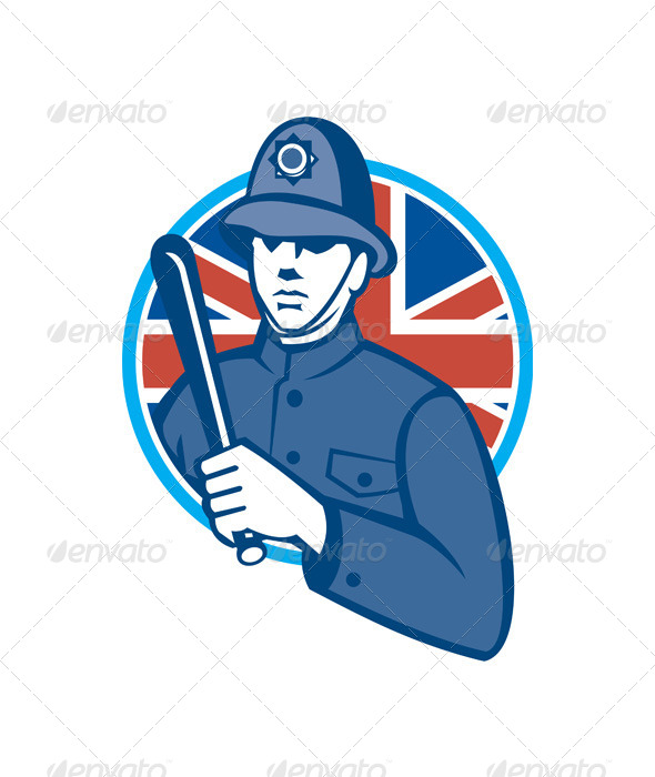 GraphicRiver British Bobby Policeman Truncheon Flag 5245667