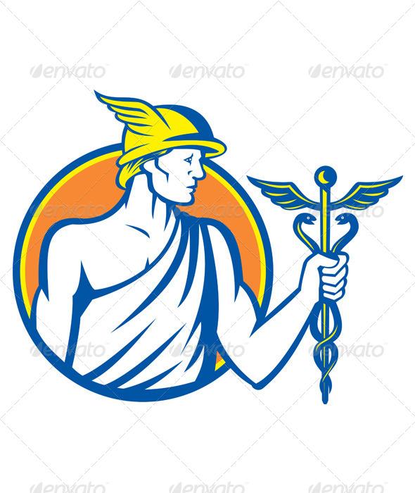 GraphicRiver Mercury Holding Caduceus Staff 5245679