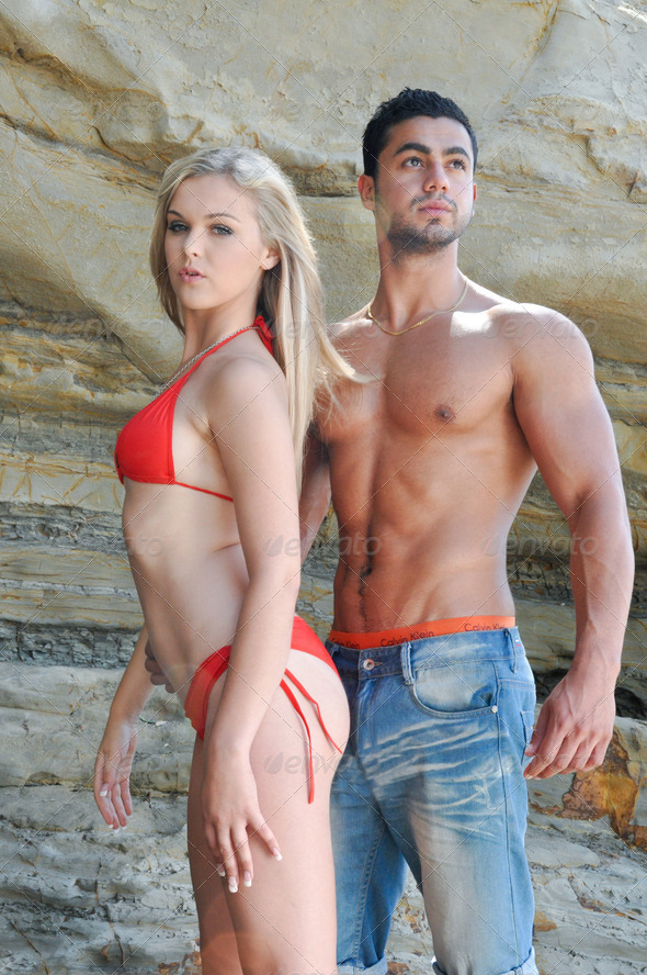 Hot Models at the Beach - Stock Photo - Images
