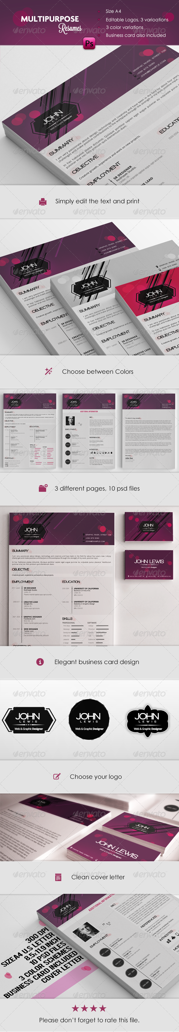GraphicRiver Multipurpose Resume & Cover Letters 5175558
