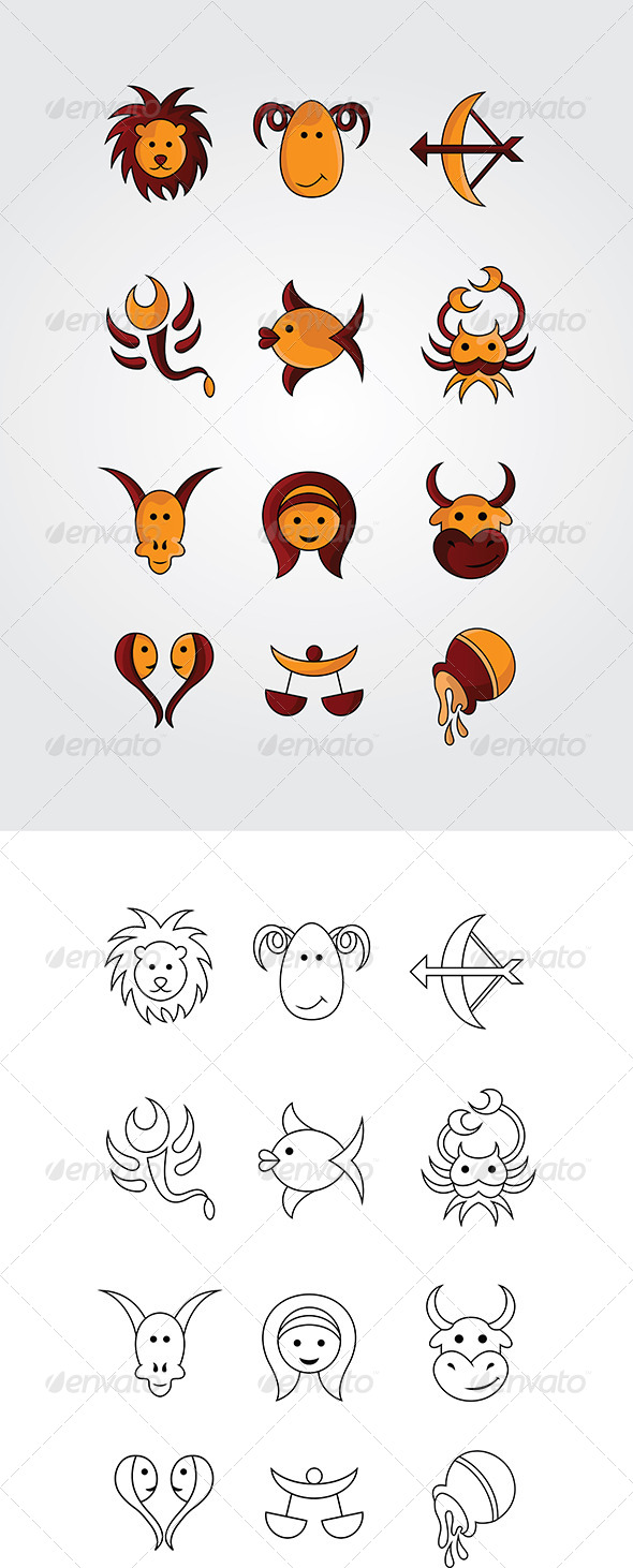 GraphicRiver Cartoon Zodiac Signs Designs Pack 5245884