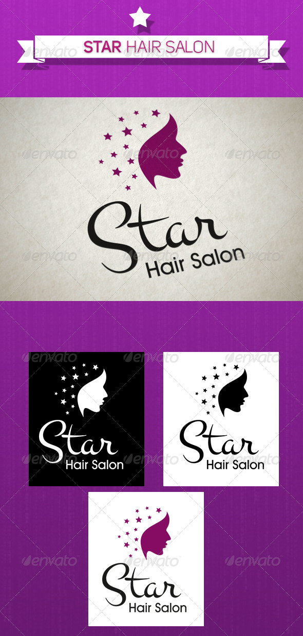 GraphicRiver Star Hair Salons Logo 5242639