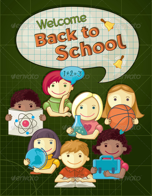 GraphicRiver School Concept Illustration with Kids 5245916