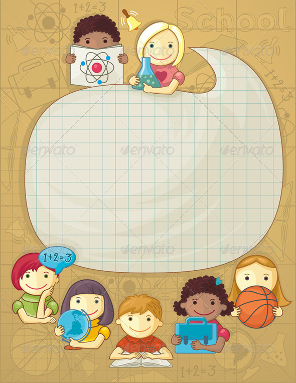 GraphicRiver School Frame with Children 5246072