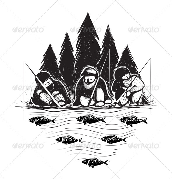 GraphicRiver Three Fisherman Sitting on River Bank with Rods 5246341