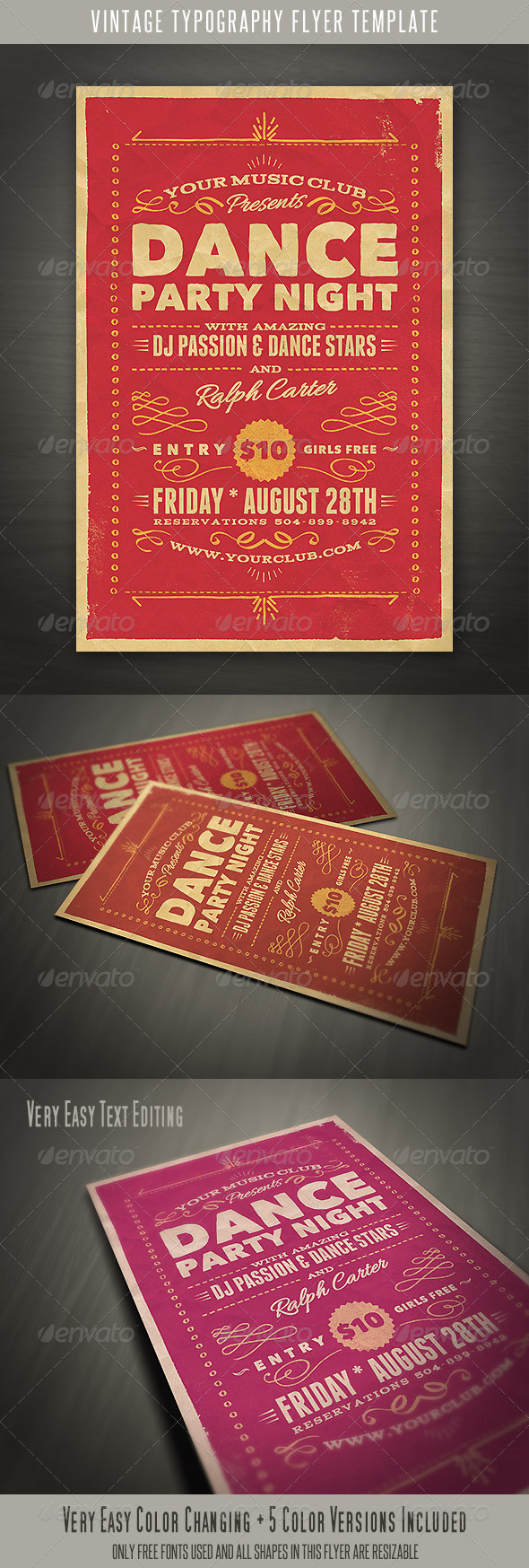 Vintage Style Typography Flyer  - Events Flyers
