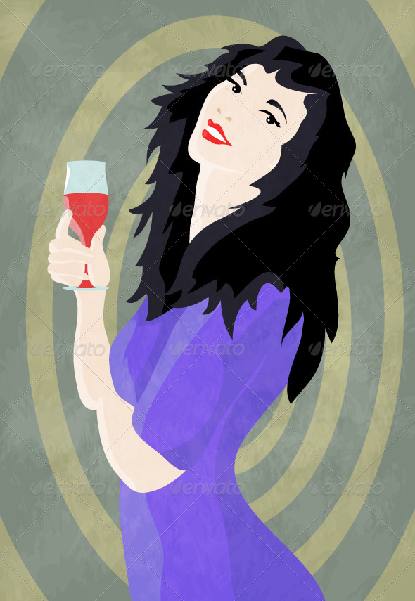 GraphicRiver Woman and Wine 5245340