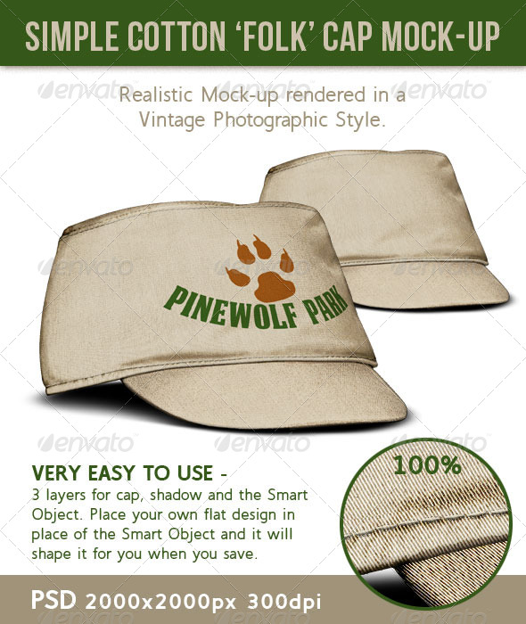 GraphicRiver Cap Cotton Cloth or Canvas Folk Style Hat 5246900