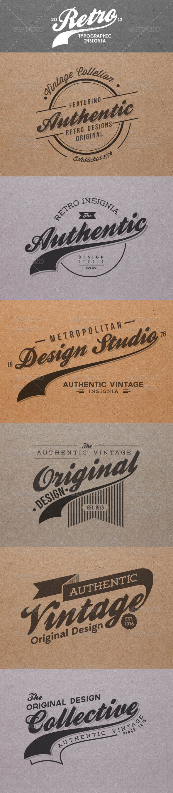 Retro Insignia Badges Labels