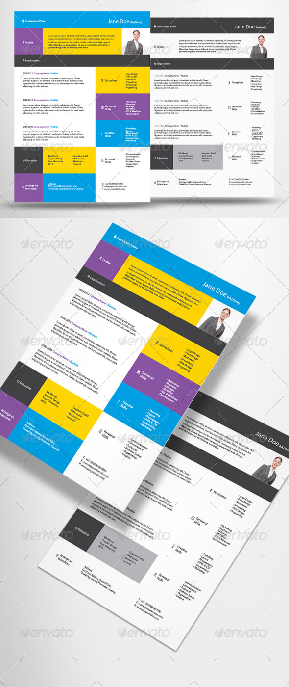 GraphicRiver 2 Piece Contemporary CV Resume 5247169