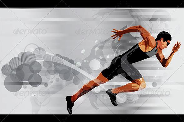 Runner Sprinter Vector Illustration - Sports/Activity Conceptual