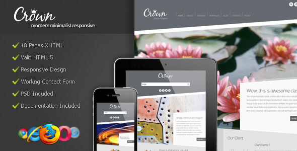 Crown - Modern Minimalist Responsive - Corporate Site Templates