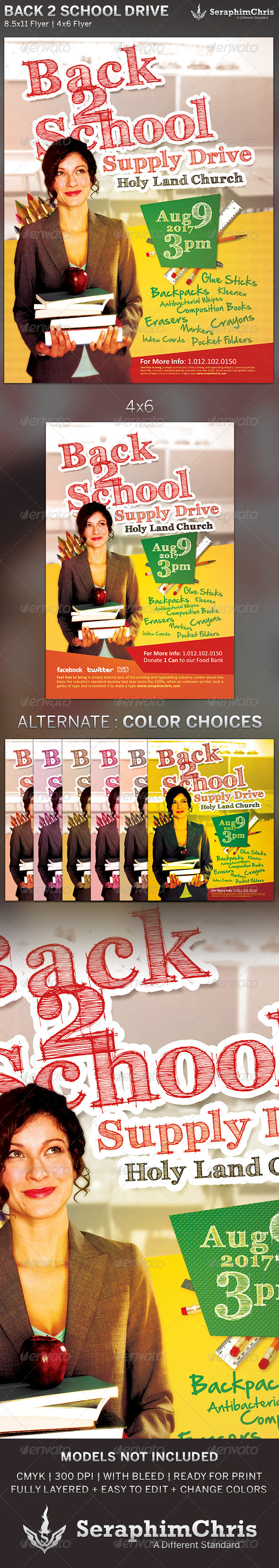 GraphicRiver Back to School Drive Church Flyer Template 5249054