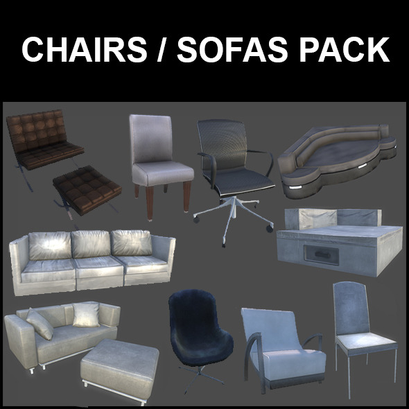 3DOcean Chairs and Sofas Pack 5249298