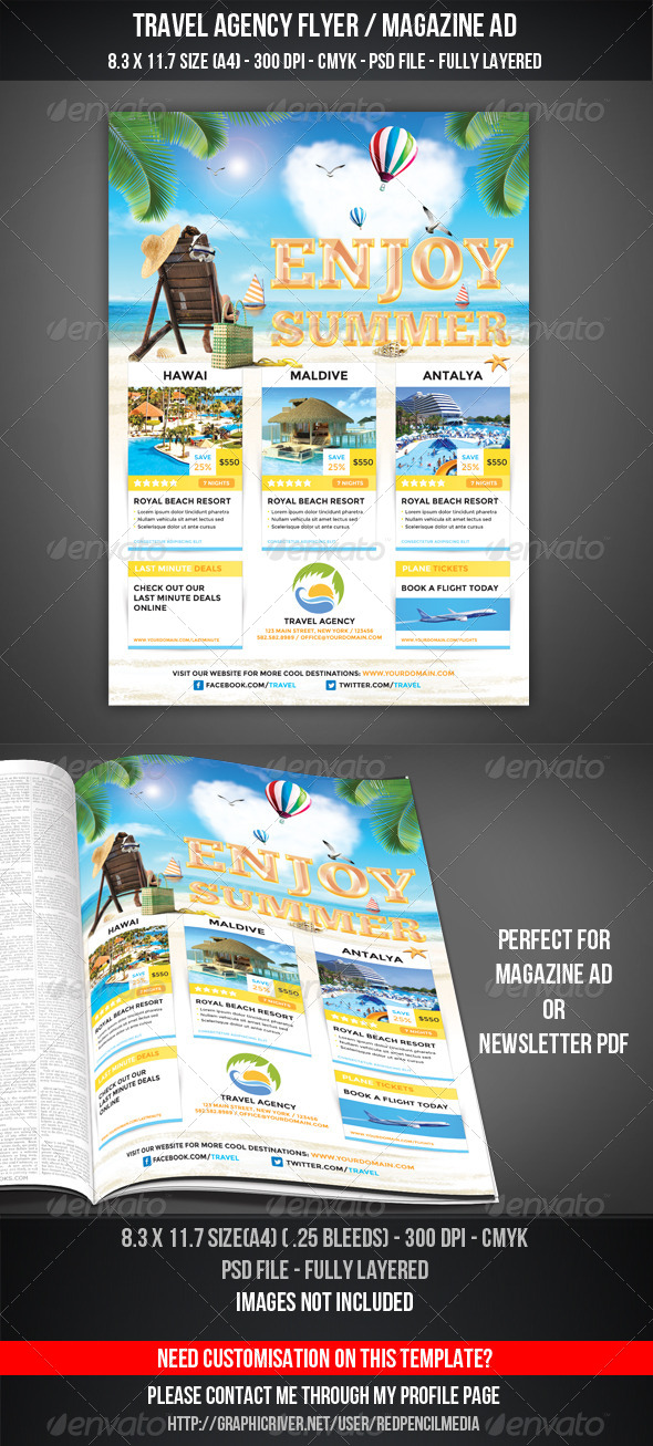 GraphicRiver Travel Agency Flyer Magazine Ad 5214340