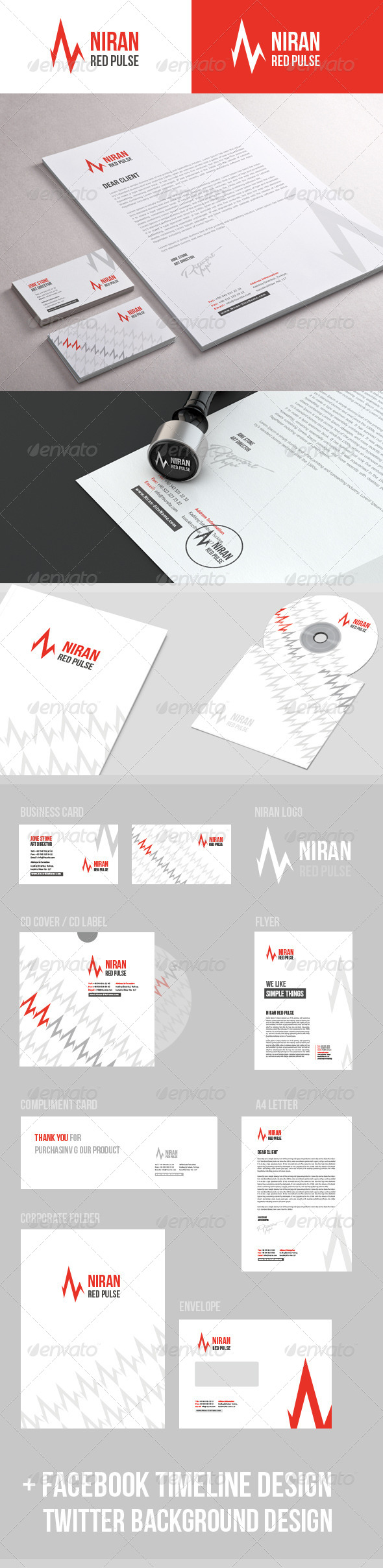 GraphicRiver Niran Red Pulse Stationery 5075632
