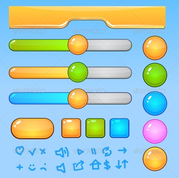 GraphicRiver Game UI Elements Colorful Buttons and Icons 5250241