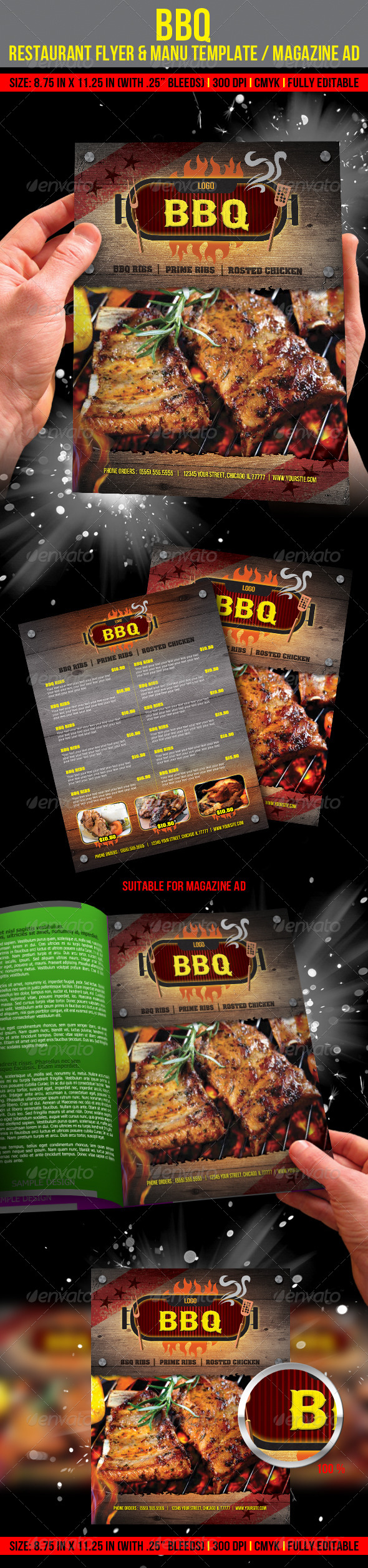 Barbecue Restaurant Flyer & Manu Template/ Magazin