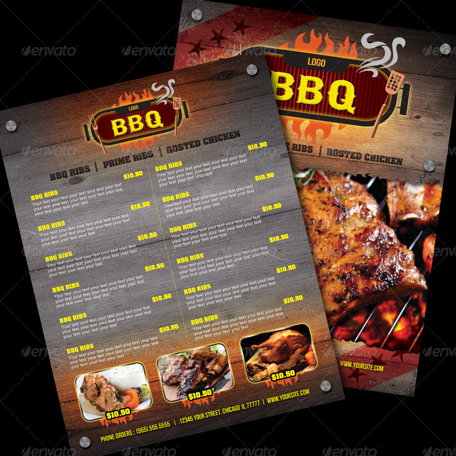 Barbecue Restaurant Flyer Amp Manu Template Magazin By