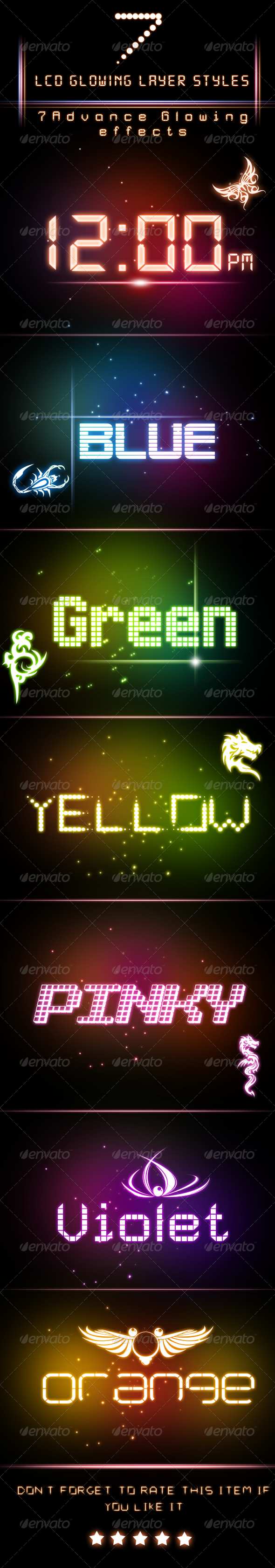 GraphicRiver LCD Glowing Layer Styles 5250338