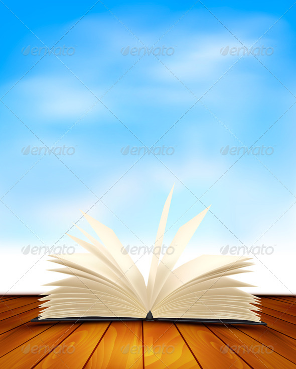 GraphicRiver Open Book on a Wooden Floor with Blue Sky 5250400