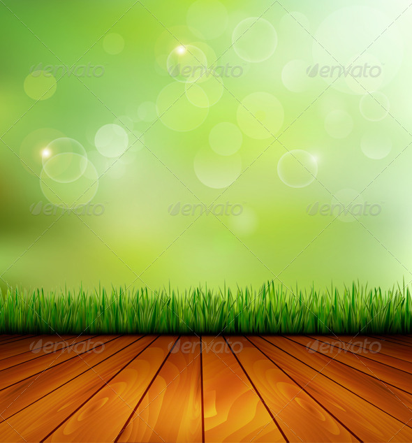 GraphicRiver Background with Wood and Grass 5250445