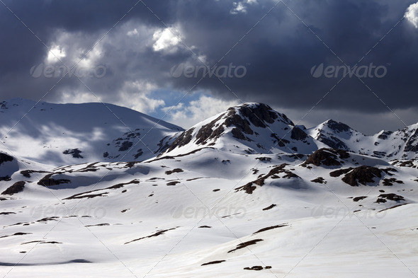 Snow mountains before storm - Stock Photo - Images
