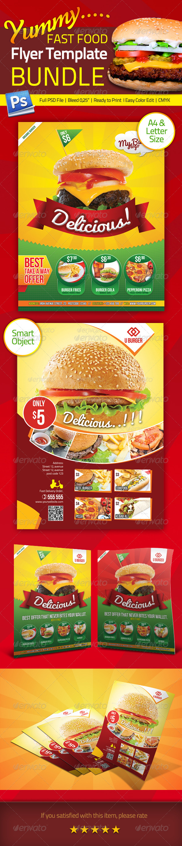 GraphicRiver Bundle Fastfood Flyer Template 5207268