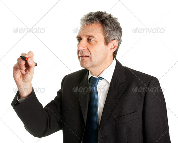 Businessman wring a sketch - Stock Photo - Images
