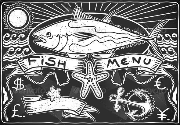 GraphicRiver Vintage Graphic Blackboard for Fish Menu 5251330