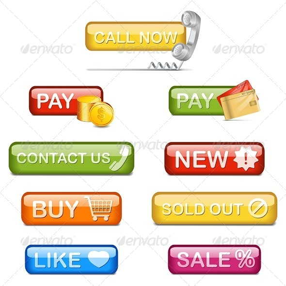 GraphicRiver Vector Glossy Shopping Buttons 5251366