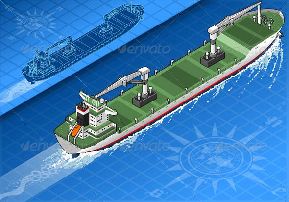 GraphicRiver Isometric Cargo Ship in Navigation in Rear View 5251476