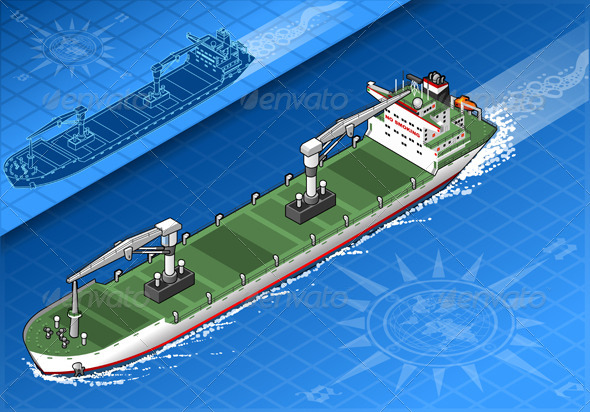 GraphicRiver Isometric Cargo Ship in Navigation in Front View 5251519