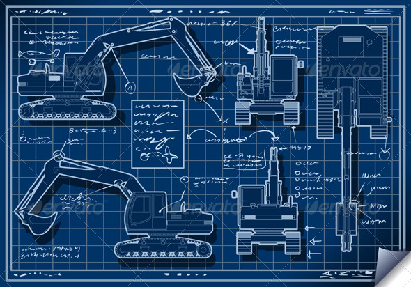 GraphicRiver Excavator Blue Project in Five Orthogonal Views 5251778