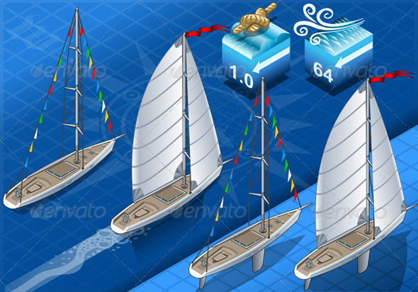 GraphicRiver Isometric Sailships in Navigation in Rear View 5251791