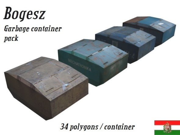 3DOcean Textured Garbage Container Pack Low Poly 5252219