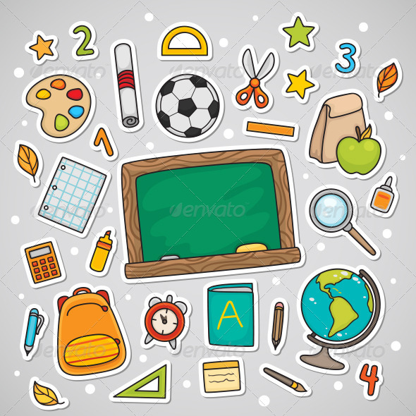 GraphicRiver Stickers with School Supplies 5252220