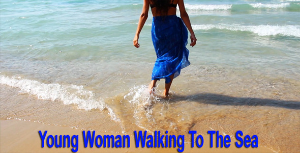 VideoHive Young Woman Walking To The Sea 5252221
