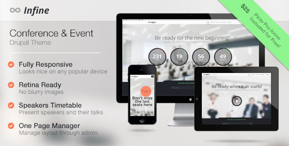 ThemeForest Infine One Page Conference & Event Drupal Theme 5239856