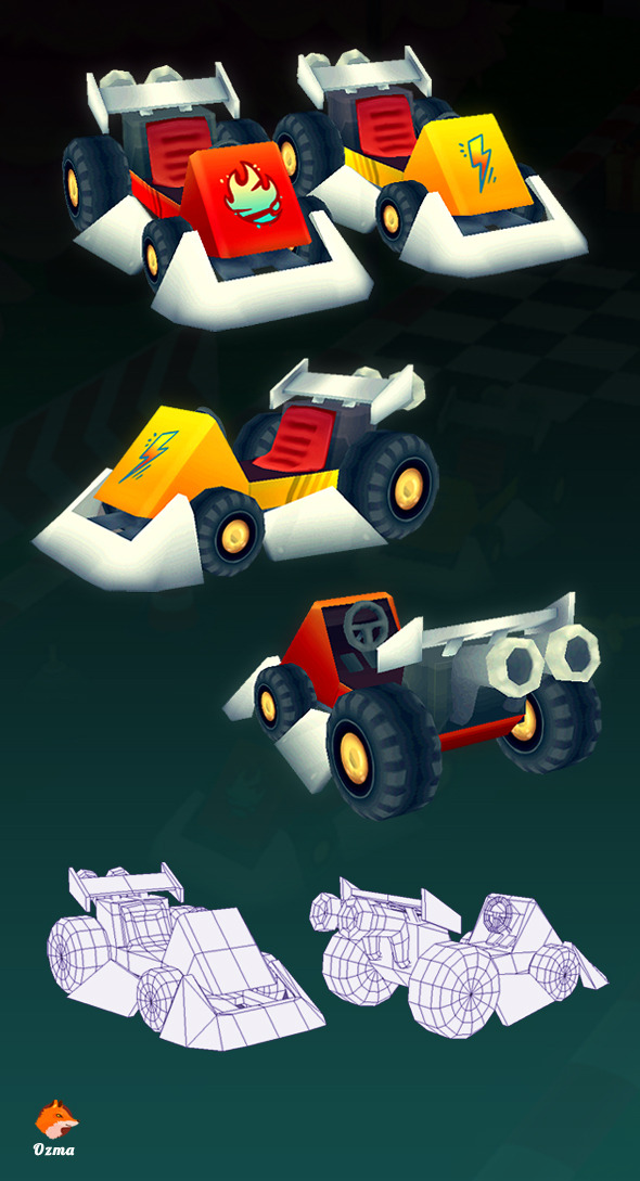 Low Poly Racing Kart - 3DOcean Item for Sale